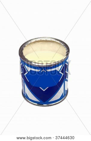 Opened can of the condensed milk