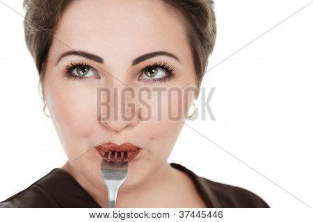 Beautiful Young Woman With Fork