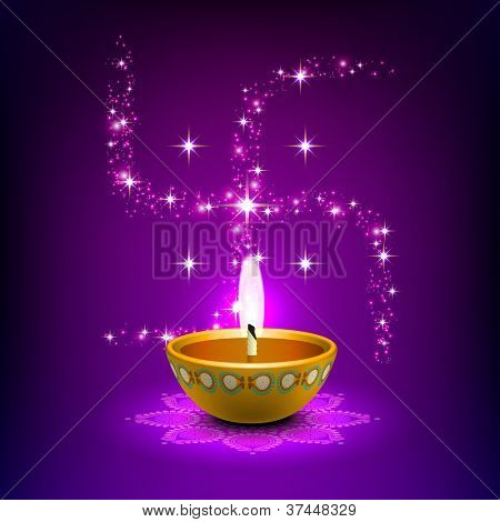 Diwali Oil Lamp with Swastica Background