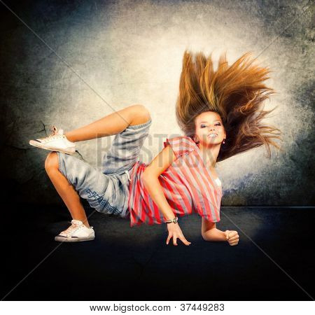 Dance. Hip-Hop Dancer. Dancing Teenage Girl.