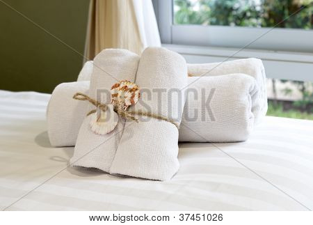 Closeup Of Soft White Towels.