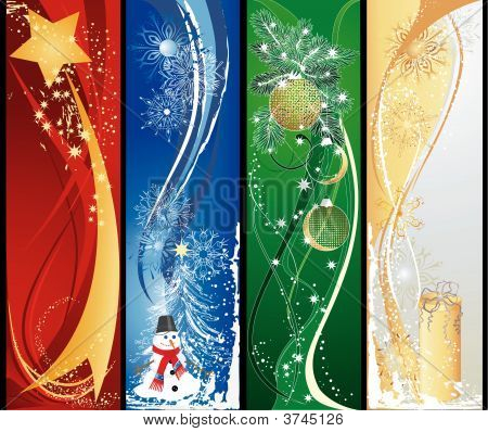 Four Christmas Vertical Banners