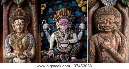 Ancient nepalese wooden carving