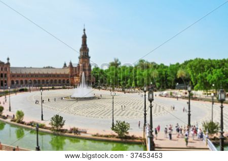 faked tilt shift Plaza de Espana, in Seville, Spain
