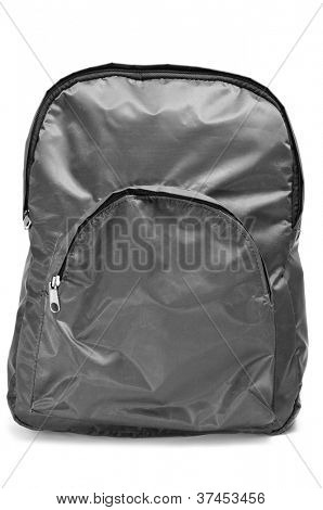 a gray backpack on a white background