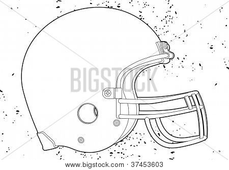 American football helmet (outline vector illustration)