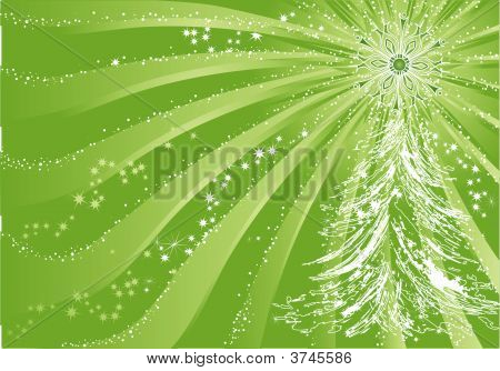 Green Christmas Background With Tree