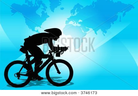 A Cyclist Running A Competition