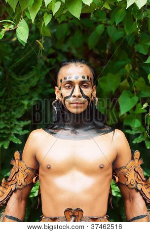Mayan Shaman In The Xcaret Show In Mexico