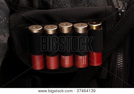 Close-up Of Bullets In Pouch