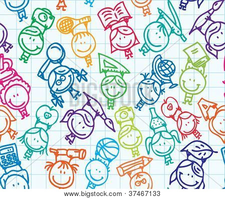 Seamless doodle background of happy children go back to school on paper texture