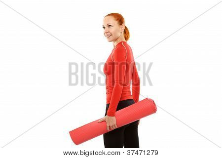 Red woman with yoga mat