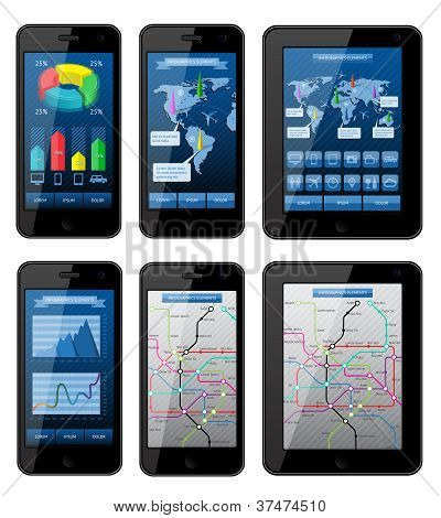 Isolated gadgets with infographics elements