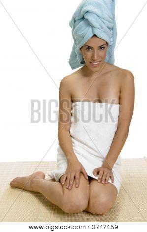 Sitting Lady After Taking Bath