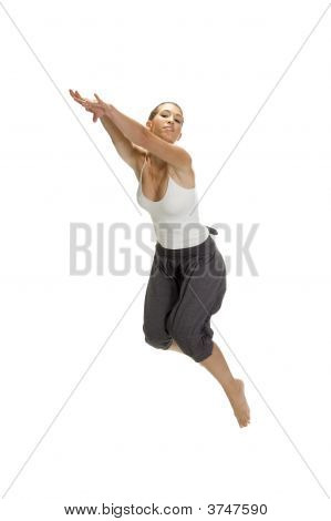 Woman Leaps In Air