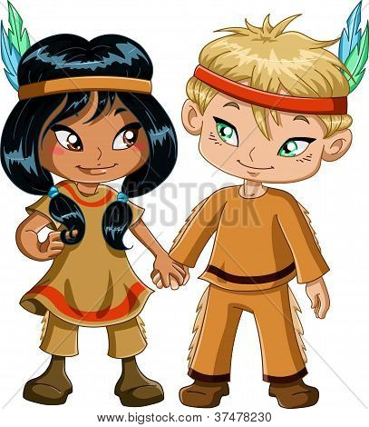 Indian Boy And Girl Holding Hands For Thanksgiving