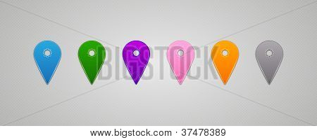 Set Of Vector Colorful Map Pins Pointer