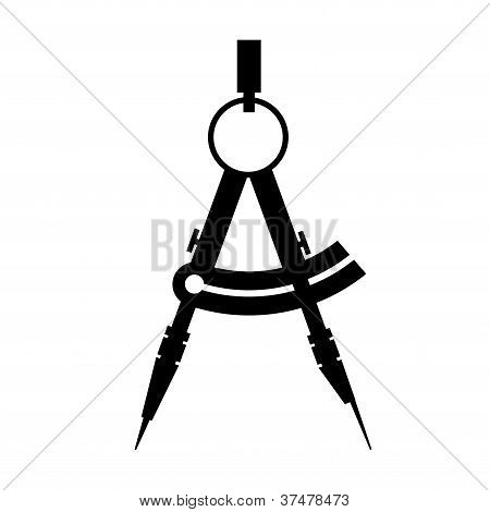 compass. icon black and white. vector