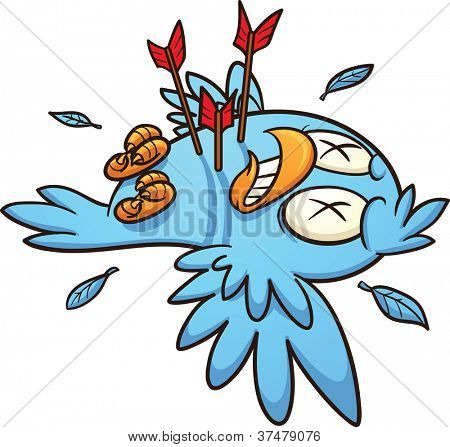 Cartoon dead blue bird. Vector illustration with simple gradients. All in a single layer.