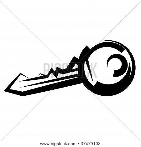 llave de la casa. vector blanco y negro