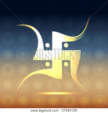 beautiful hindu swastik symbol vector illustration