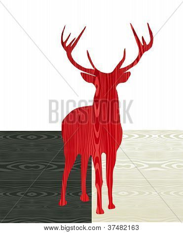 Christmas Wooden Reindeer Silhouette