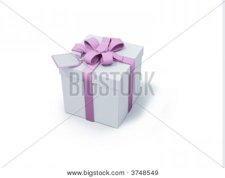 White Present Box With Pink Ribbon