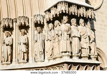 religious statues on the cathedral, spain
