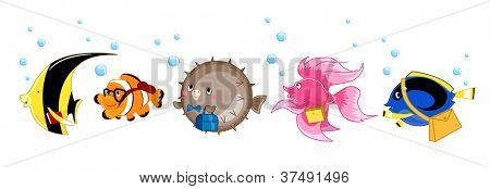 Illustration of a Yellow Butterfly Fish, Clownfish, Pufferfish, Siamese Fighting Fish, and Blue Tang on Their Way to School