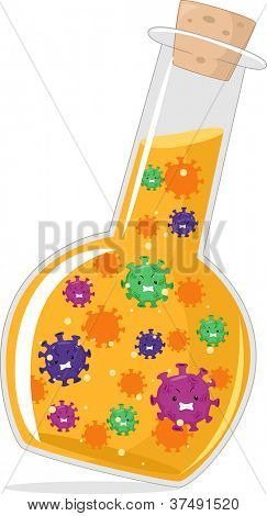 Illustration of Cultured Viruses Inside a Florence Flask