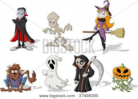 Funny cartoon classic halloween monster characters
