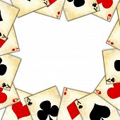 stock photo of playing card  - old playing cards on a white background - JPG