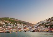 stock photo of hydra  - Early evening view of the main town on the island of Hydra Greece - JPG