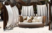 stock photo of playa del carmen  - Luxury bed on the Playa Del Carmen beach in Mexico - JPG