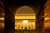 stock photo of zedong  - Mao Zedong Tse Tung Tomb from Qianmen Zhengyang Gate Tiananmen Square Beijing China Night Shot