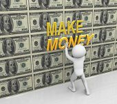 image of ten thousand dollars  - 3d man placing  - JPG