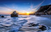 picture of pch  - Sunset at El Matador beach in Los Angeles - JPG