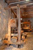 stock photo of wine-press  - Ancient wine press in the Aigle caszle - JPG