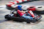 stock photo of karts  - Indoor karting race  - JPG