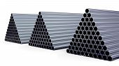 stock photo of cylinder pyramid  - New steel pipes for gas pipeline in the shape of a pyramid stacked at warehouse - JPG