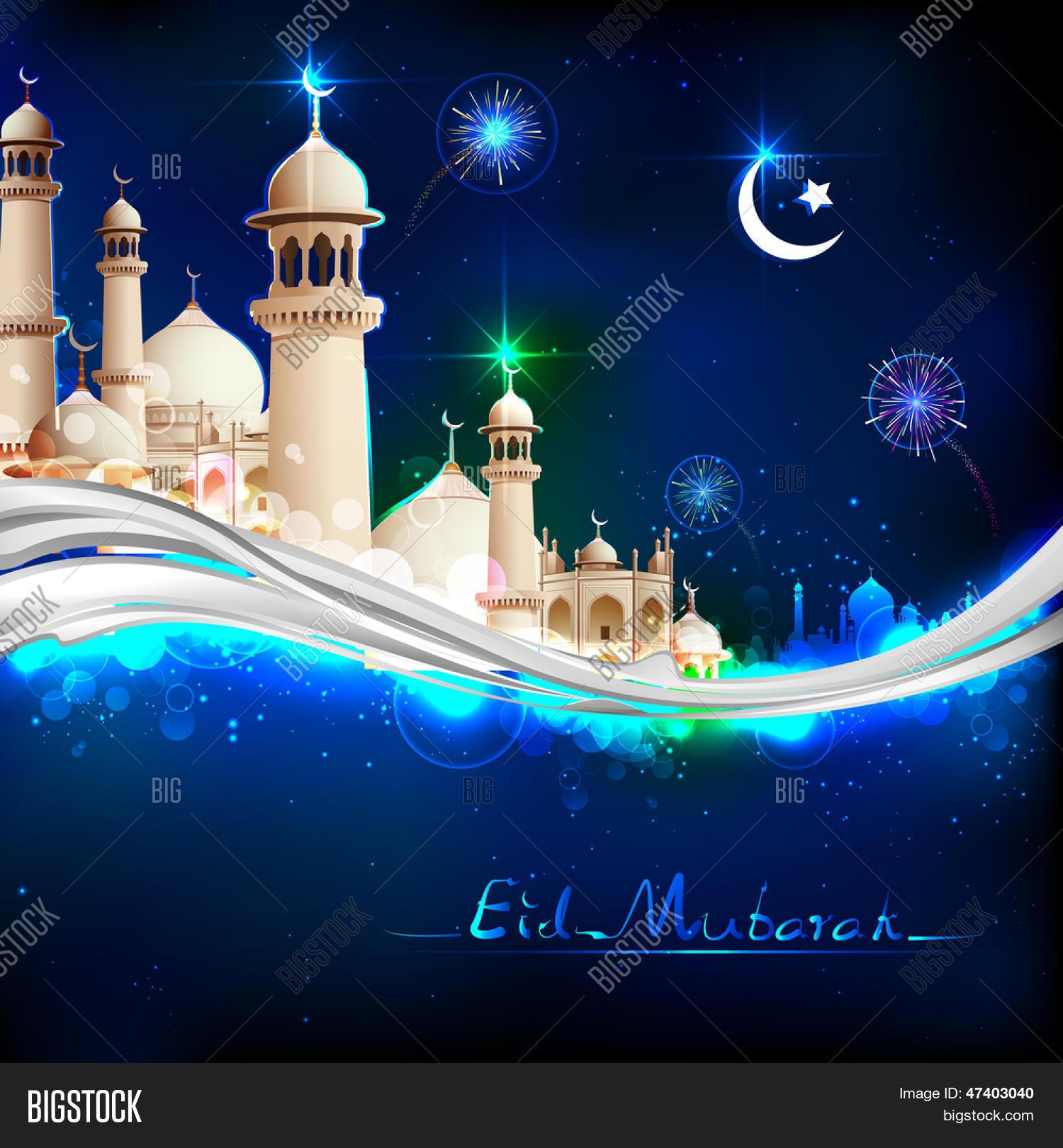 illustration of eid mubarak happy eid background with
