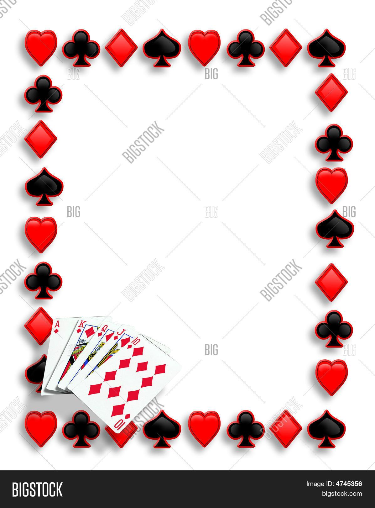 Playing Cards Border Poker Royal Flish Stock Photo Amp Stock