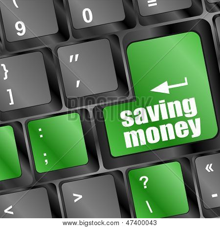 Saving Money Button On Computer Keyboard Key