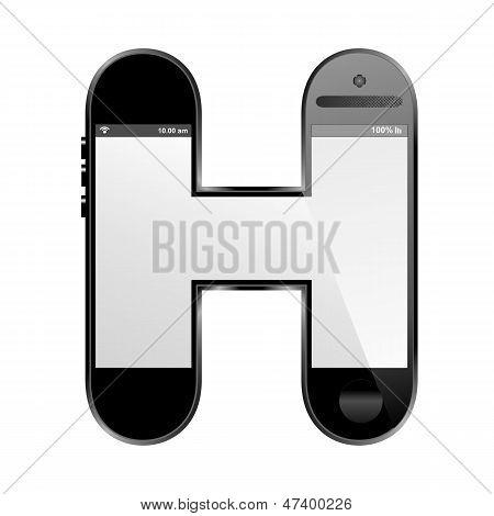 smart phone shaped, alphabet design letter, H