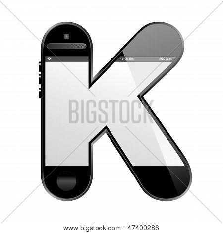 smart phone shaped, alphabet design letter, K