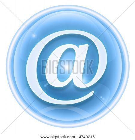 Email Icon Ice, Isolated On White Background.