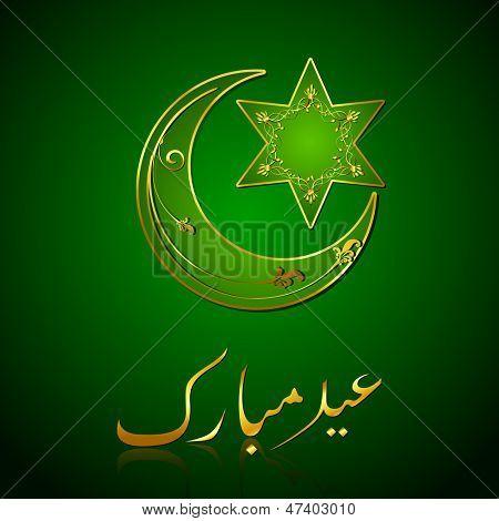 illustration of Eid Mubarak (Happy Eid) background with star and moon