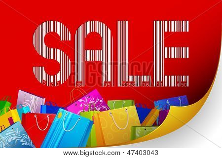 illustration of barcode sale with colorful shopping bag