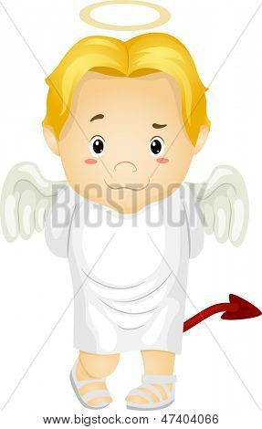 Illustration of a Little Kid Boy Angel with Halo and Devil's Tail