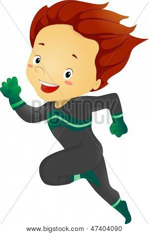 Illustration of Little Kid Boy Running